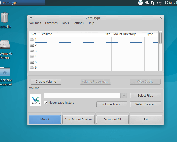 Interface de Veracrypt