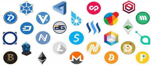 Logo de plusieurs cryptomonnaies
