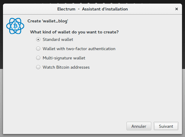 Electrum BTC Type de wallet