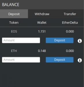 EtherDelta, Balance des wallet