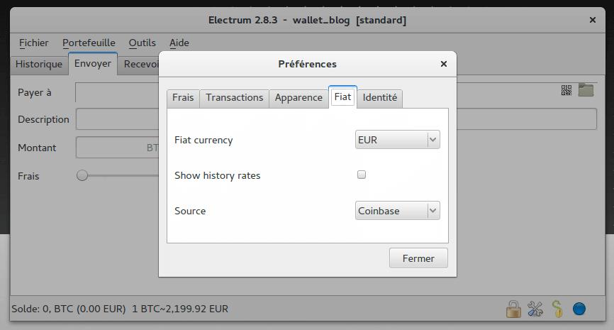 Electrum BTC Préférences/FIAT