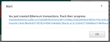 Pop-up de confirmation d'une transaction