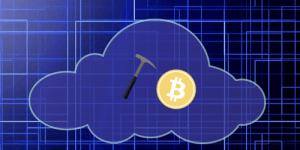 Une pioche dans un nuage avec une pièce de BTC.