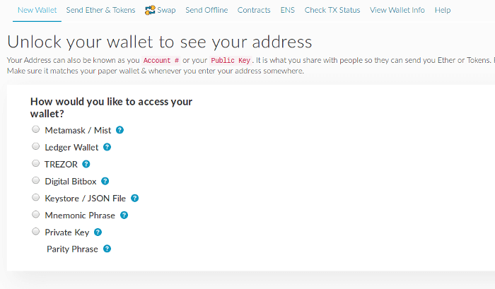 MyEtherWallet, Unlock wallet