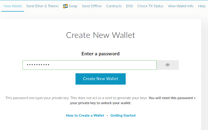 MyEtherWallet, Create new wallet